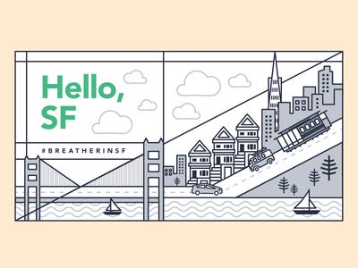 San Francisco Skyline breather cityscape city skyline graphic design illustration san francisco sf
