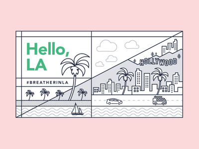 LA Skyline los angeles la illustration graphic design skyline city cityscape breather