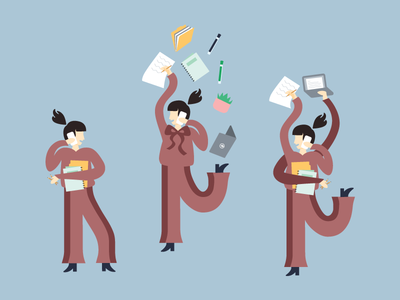 Businesswoman—Character Explorations graphic design working woman busy working vector illustration