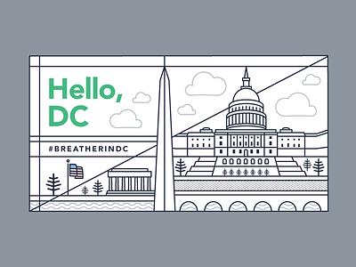 DC Skyline washington dc washington illustration graphic design breather dc