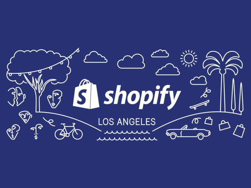 Shopify LA Illu graphic design dtla the row la los angeles city illustration swag mug shopify la shopify