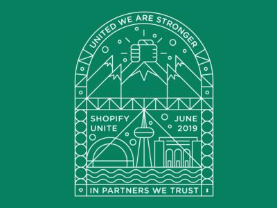 Shopify Unite Tshirt Design (Unused) skyline graphic design vector line art toronto city skyline illustration tshirt shopifyunite shopify