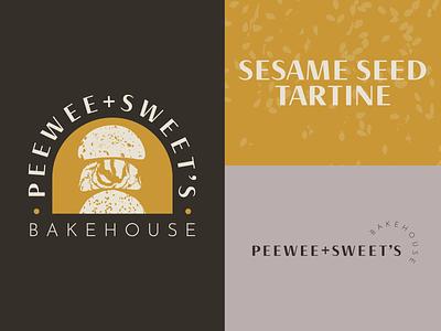 PEEWEE+SWEET'S Outtake logo design texture natural neutral gold yellow brand design branding logo baked goods bakery bread