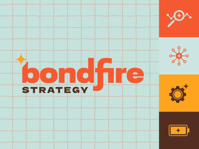 Bondfire Strategy icons gear battery strategy connect star warm colors brand design logo design logo branding spark fire