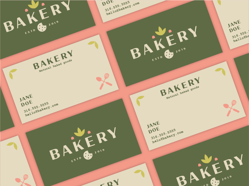 Bakery color candy whisk cooking branding recipe businesscard food baked goods bakery leaf cookie natural