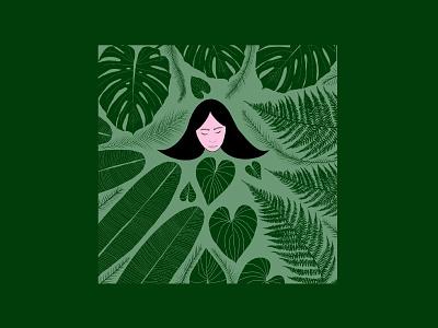 Green plants leaves hair girl procreate emilysearle digital illustration loved banana leaf palm fern monstera face green plant lady plant