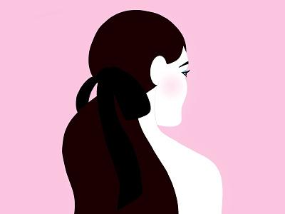 Black Bow ipad procreate emilysearle illustration digital pink blush eyes brunette hair bow