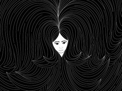 Hair design procreate digital illustration locks black emilysearle girl brows line hair