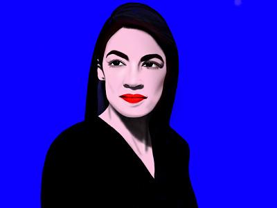 Alexandria Ocasio-Cortez alexandria ocasio cortez queen badass woman red lips bronx boss ipad procreate emilysearle digital illustration blue usa nyc alexandriaocasiocortez aoc