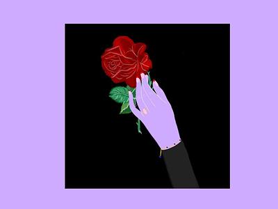 RED ROSE red rose hand bracelet emilysearle purple lavender love nails manicure pink morganite ring illustration drawing illustrator procreate apple ipad digital