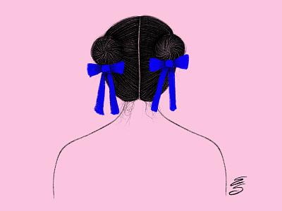 girl feminist pink emilysearle illustration draw hair black blue buns bows girl