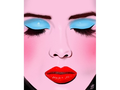 Red Lips emily searle emilysearle love eyelashes brows woman girl face pink lips red eyes blue