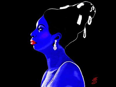 Nina Simone illustration emilysearle emily searle love hair red lips blue queen black singer nina simone