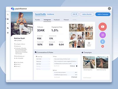 Gapinfluence Dashboard Design - Social Profile influencer marketing influencer dashboard ui dashboard design dashboad branding design ux ui