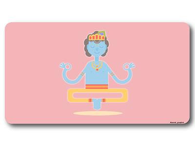 Little Krishna on Sadhana ui illustration vector god lord