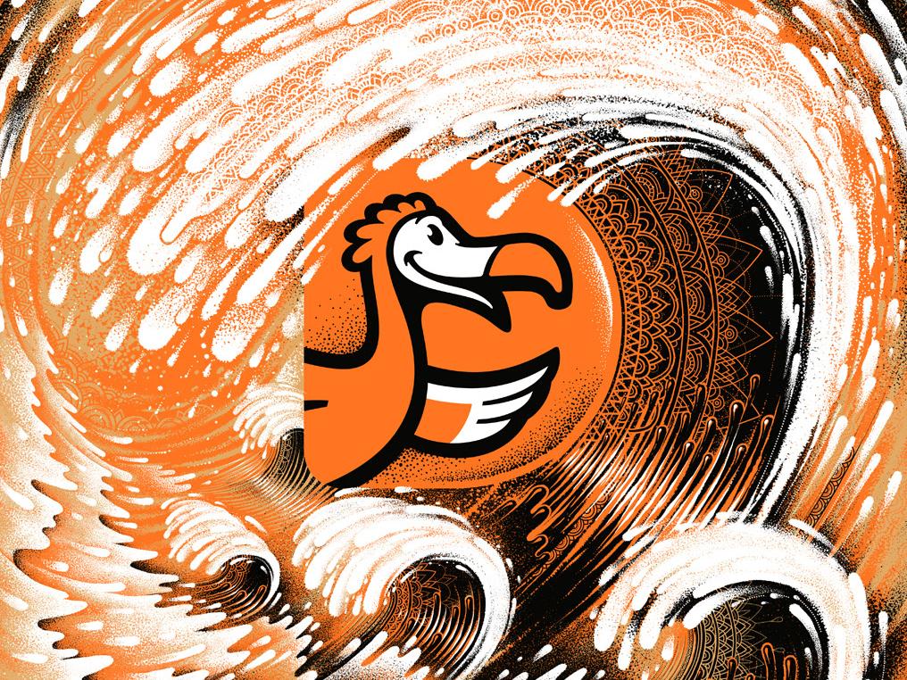 DoDo Pizza dodo wave birds illustration oleggert