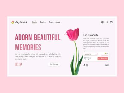 Aziz Gardens tulips figma cart shopping online bouquet flowers graphic design webdesign website landing landingpage app ui illustration design app concept ux uiux