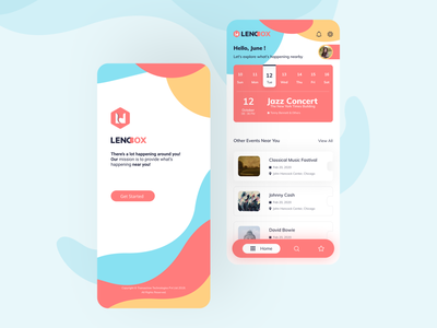 Event Ticket Booking color palette mobile rounded corners shadow abstract logo dashboard welcome page ticket booking event booking minimal typography landing page design sketch ux ui illustration clean adobe