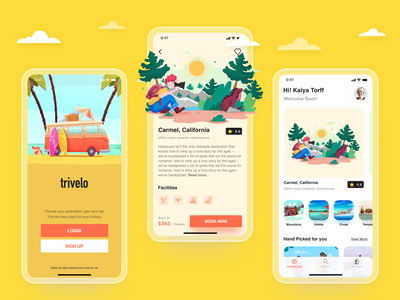 TRIVELO  -  Travel booking application adobe xd sketch figma camp treehouse nature glass effect travel app typography logo branding dashboard clean app ux ui illustration adobe