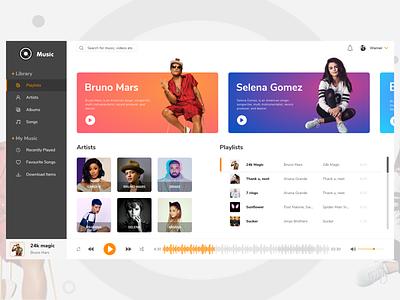 Dashboard vector playlist artist type music website dashboard branding web design ux ui sketch illustration clean app adobe profile design player ui music app