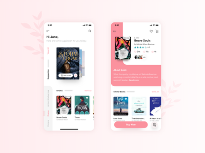 Book Buying Application buy now books book cover add to cart information reviews listing reading app ecommerce app figma branding web design ux ui sketch illustration clean app adobe