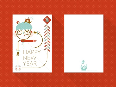 2019 HAPPY NEW YEAR POSTCARD design illustration