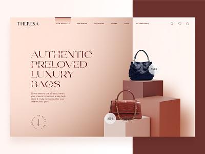 Website Design concept for Luxury bag website accessoires header concepts e-commerce header bags ui design visual design user experience ui design 17seven