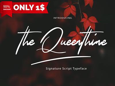 The Queenthine branding best design script card wedding free font handwritten font handwriting font