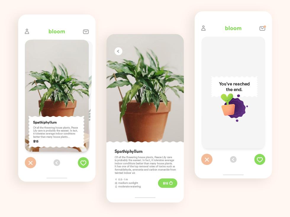Bloom - Tinder for Plants #DesignSlices app design plant illustration plant shop plant app plant app illustration design designslices
