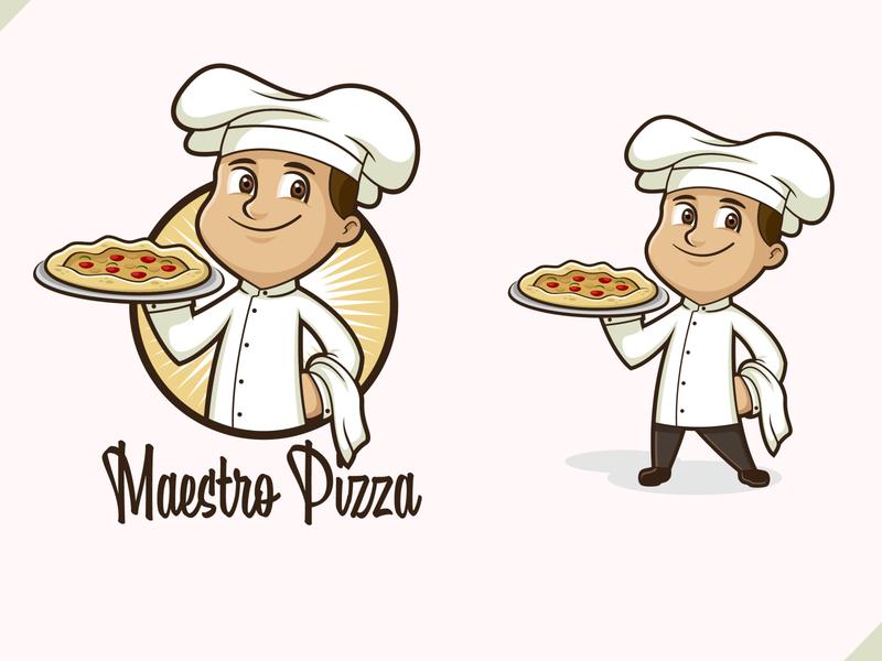Pizza Chef pizza chef mascot pizza chef logo pizza box pizza