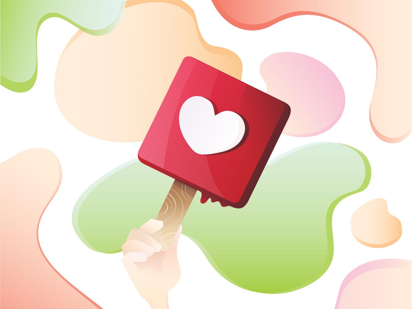 Ice Cream modern slick gradient colorful design blobs heart shaped heart facebook instagram like likes hand summer popsicle icecream web icon vector design illustration
