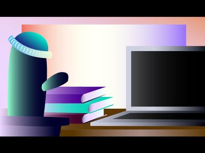 Work environment web hat desktop design dribbble invite hipster plant books office environment work study environment laptop cactus glossy ui vector illustration gradient colorful design