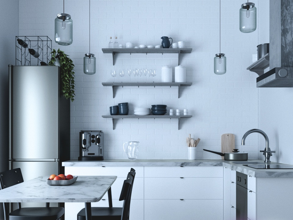 White Kitchen Classic corona render design white 3dsmax 3ds kitchen