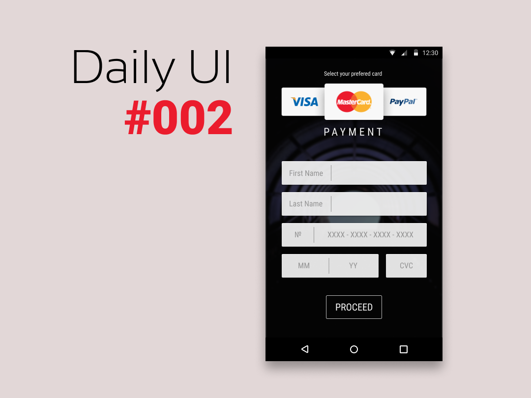 DailyUI #002 Credit Card Checkout ui app dailyui 002 dailyui