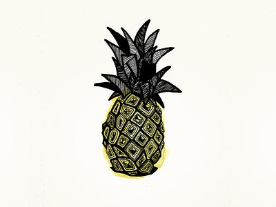 Pineapple pineapple fruit exotic aquarelle illustration marker marker pen
