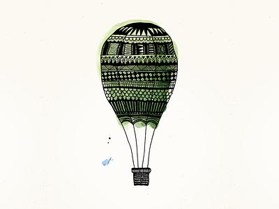 Hot Air Balloon hot air balloon balloon illustration aquarelle hand made marker