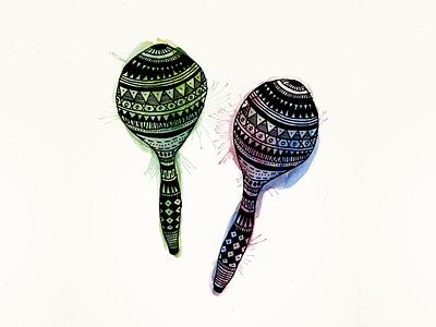 Maracas maracas music rythm music instruments illustration aquarelle marker