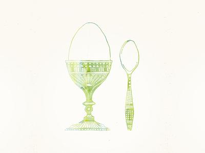 Egg 'n' Spoon egg spoon illustration aquarelle
