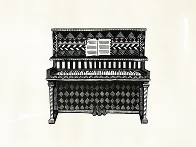 Piano piano illustration black  white bw