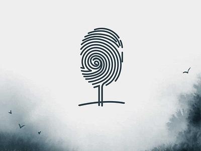 Tree + finger print logo design white creativity logodesign concept symbol nature finger lubossito branding green tree vector illustrator design logo