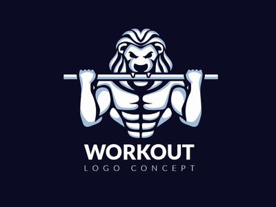 Workout. Logo concept modern modern logo illustration minimal lubossito workout vector design negativespace animal character sport lion logos logodesign logo