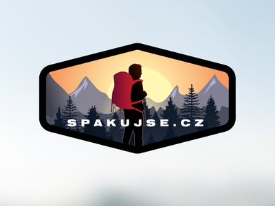 Spakujse.cz Logo design. lubossito adobe illustrator badge concept sunset sun tree mountains e-shop backpack tourism hiking vector design logodesign nature logo