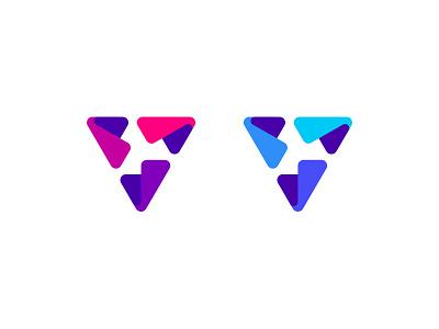 V branding symbol letter design logo video