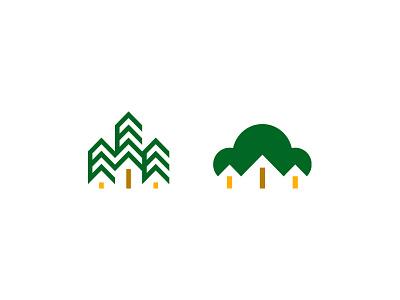 wooden houses branding design symbol mark logo wood tree home house