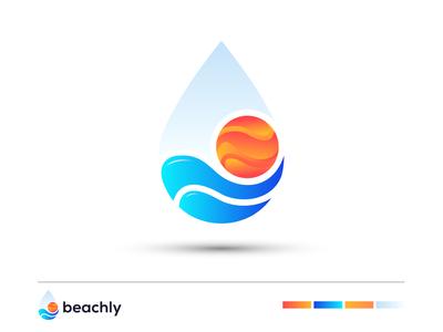 beachly - Water drop Sun Logo design branding
