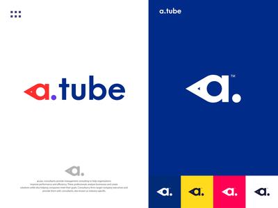 a.tube - Media Logo Design Branding