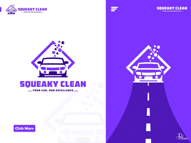 Squeaky Clean - Car Wash Service Logo Design Branding. logo ideas logo design branding modern logo minimalist logo cleaning logo car wash logo best logo creative logo design car logo logo designer graphic design designer brand branding identity illustration clever smart modern mark logomark brandmark vector logo logo design branding design