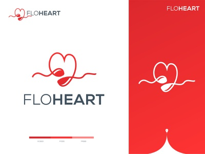 FloHeart - Logo Design Branding (for sale) 🌊ღ❤️ uiux medical logo idea red dating logo love health care health heart flow app logo graphic design designer clever smart modern brand branding identity mark logomark brandmark logo logo design vector branding design