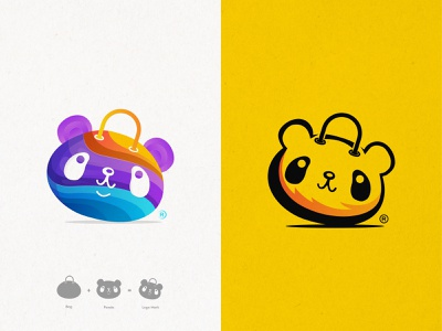 Modern Colorful Panda Bag Logo Design (for sale) 🐼+🛍️ cute panda best logo delivery online shop bag panda modern animal color overlay colorful brand branding identity mark logomark brandmark clever smart modern icon illustration logo logo design branding vector design