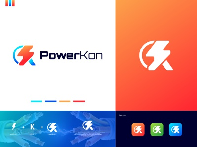 K + Bolt - Energy Power Electricity Logo Design (for sale) ⚡+ 🇰 lighting electric k logo letter k modern logo best logo solar current electricity bolt logo energy power energy logo mark logomark brandmark logo vector logo design branding design